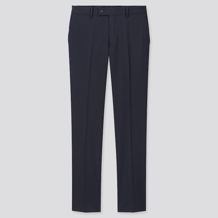 Men Stretch Wool Pants, Navy, Large