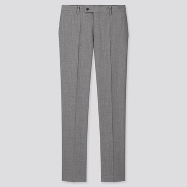Men Stretch Wool Slim-Fit Pants, Gray, Medium