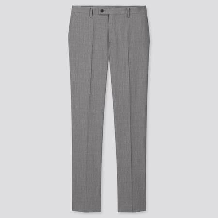 Men Wool Stretch Slim Fit Suit Trousers