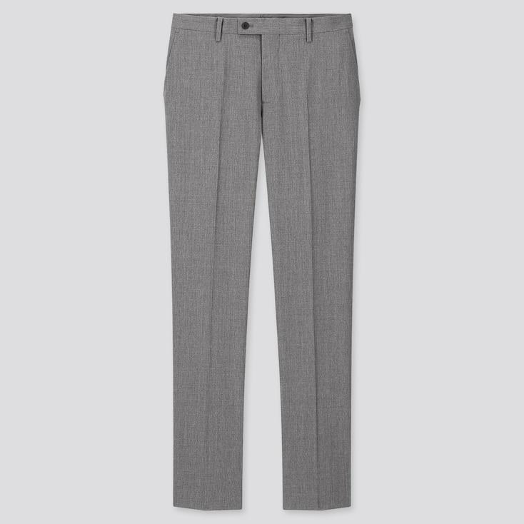 Men Stretch Wool Slim-Fit Pants, Gray, Large