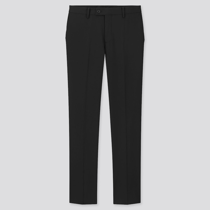 Men Stretch Wool Slim-Fit Pants, Black, Large