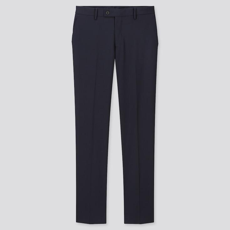 Men Stretch Wool Slim-Fit Pants, Navy, Large