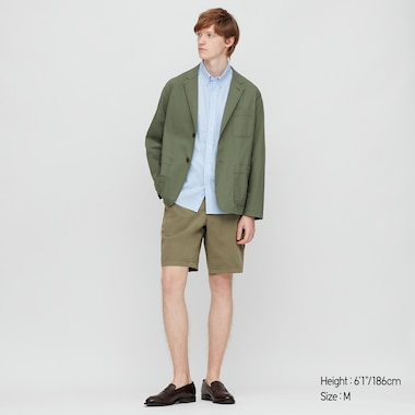 Men Chino Shorts, Dark Green, Medium