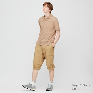 Men 3/4 Roll-Up Cargo Shorts (Online Exclusive), Beige, Medium