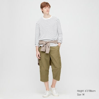 Men 3/4 Roll-Up Cargo Shorts (Online Exclusive), Olive, Medium