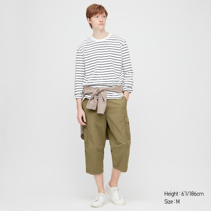 Men 3/4 Roll-Up Cargo Shorts (Online Exclusive), Olive, Large