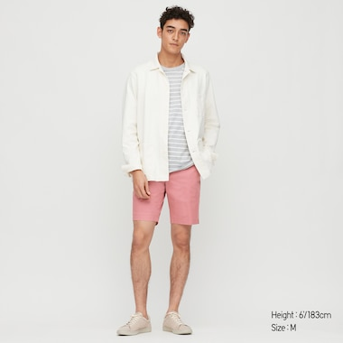 Men Stretch Slim-Fit Shorts, Pink, Medium