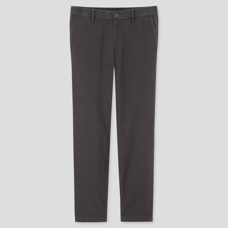 Men Linen Blended Relaxed Pants, Gray, Large