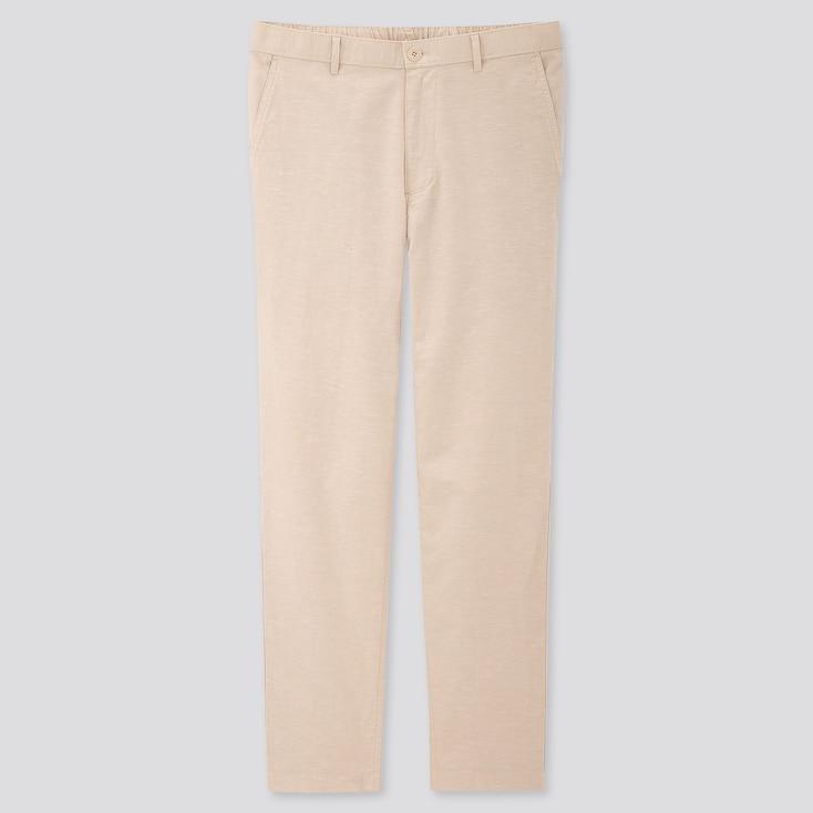 Men Linen Blended Relaxed Pants, Natural, Large