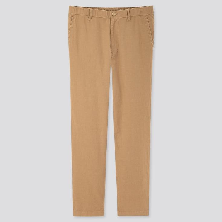 Men Linen Blended Relaxed Pants, Beige, Large