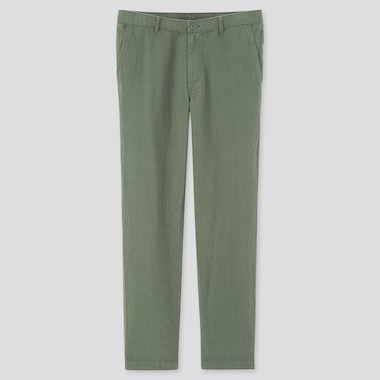 Men Linen Blended Relaxed Pants, Green, Medium