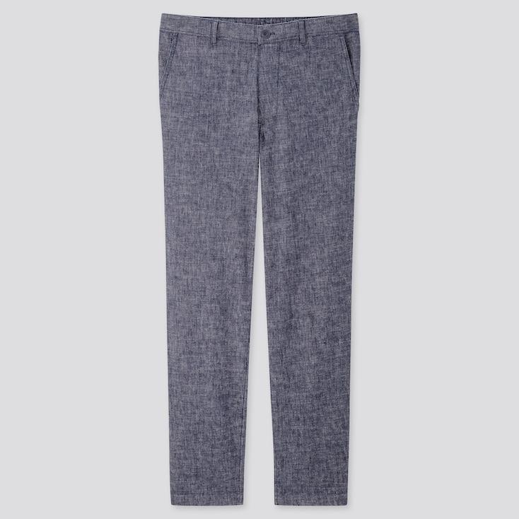 Men Linen Blended Relaxed Pants, Blue, Large