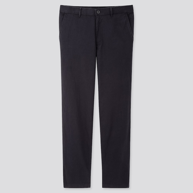 Men Linen Blended Relaxed Pants, Navy, Large