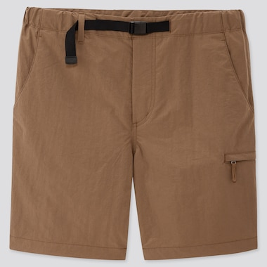 Men Nylon Active Shorts, Brown, Medium