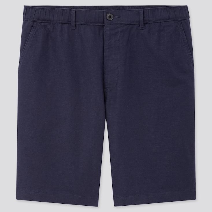 Men Linen Blended Shorts, Navy, Large