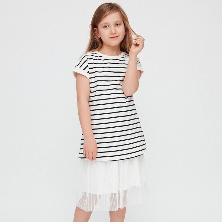 Girls Striped Short-Sleeve Tunic, Off White, Large