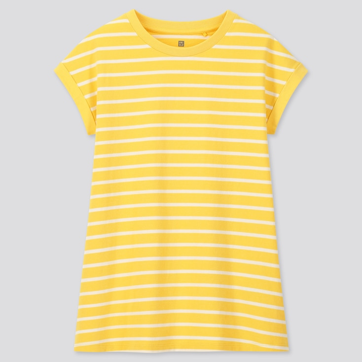 Girls Striped Short-Sleeve Tunic, Yellow, Large