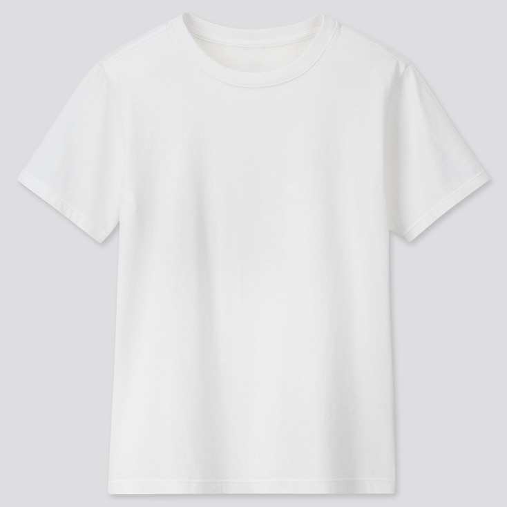 Kids Cotton Color Crew Neck Short-Sleeve T-Shirt, White, Large
