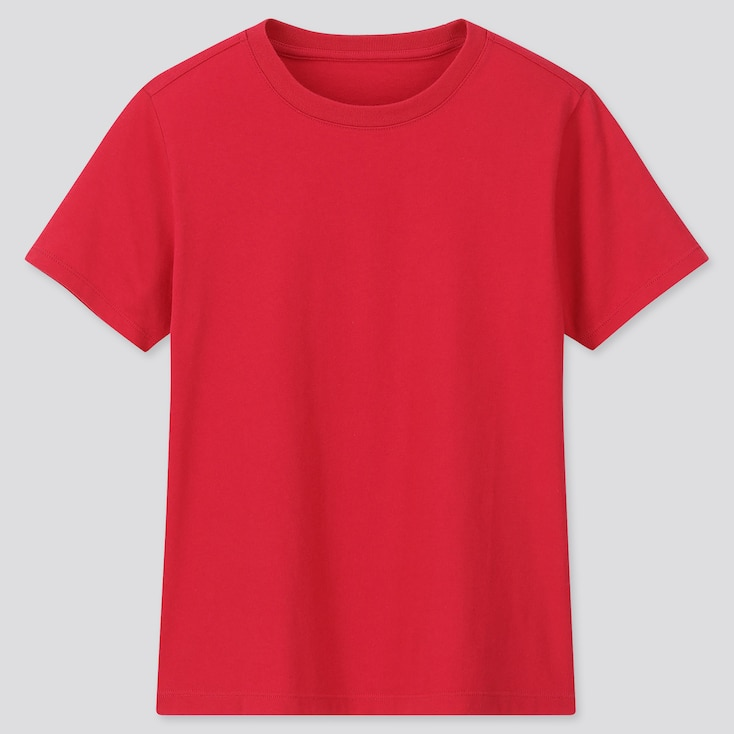 Kids Cotton Color Crew Neck Short-Sleeve T-Shirt, Red, Large