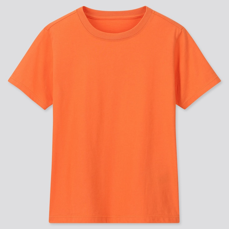 Kids Cotton Color Crew Neck Short-Sleeve T-Shirt, Orange, Large