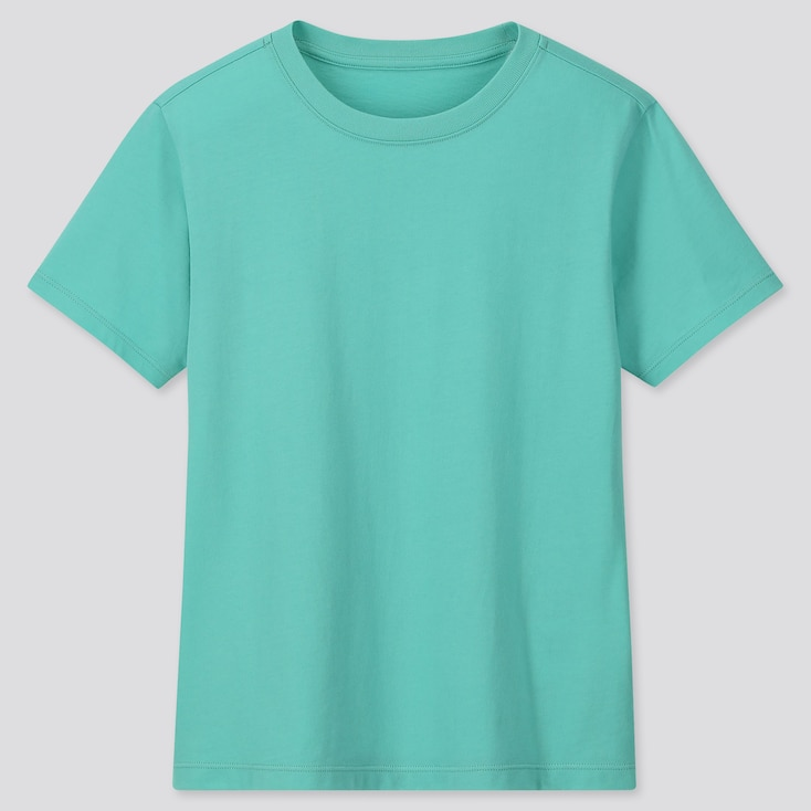 Kids Cotton Color Crew Neck Short-Sleeve T-Shirt, Green, Large