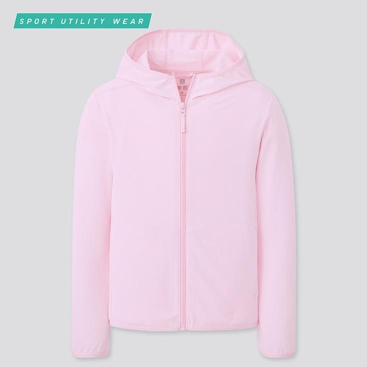 Kids Airism Uv Protection Mesh Hoodie, Pink, Large