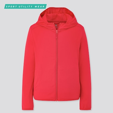 Kids Airism Uv Cut Mesh Hoodie (Online Exclusive), Red, Medium