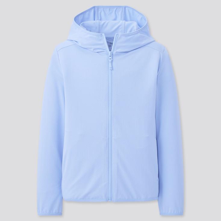 Kids Airism Uv Cut Mesh Hoodie (Online Exclusive), Blue, Large