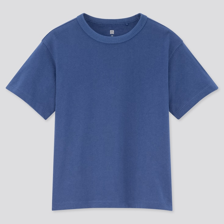 Kids Relaxed Fit Crew Neck Short-Sleeve T-Shirt, Blue, Large