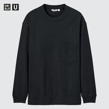 Men U Crew Neck Long-Sleeve T-Shirt, Black, Medium