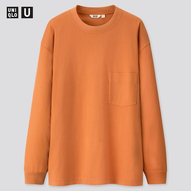Men U Crew Neck Long-Sleeve T-Shirt, Orange, Medium