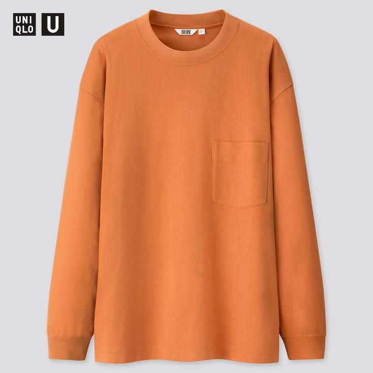 Men U Crew Neck Long-Sleeve T-Shirt, Orange, Large