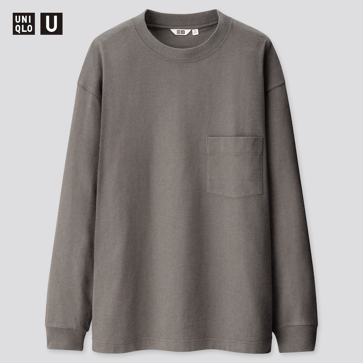 Men U Crew Neck Long-Sleeve T-Shirt, Blue, Large