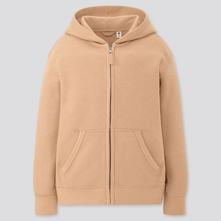 Kids Sweat Full-Zip Hoodie, Beige, Large