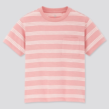 Kids Slub Striped Crew Neck Short-Sleeve T-Shirt, Pink, Medium