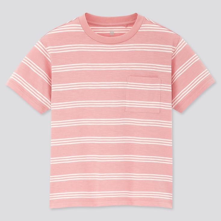Kids Slub Striped Crew Neck Short-Sleeve T-Shirt, Pink, Large