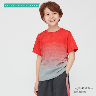 Kids Dry-Ex Crew Neck Short-Sleeve T-Shirt, Red, Medium