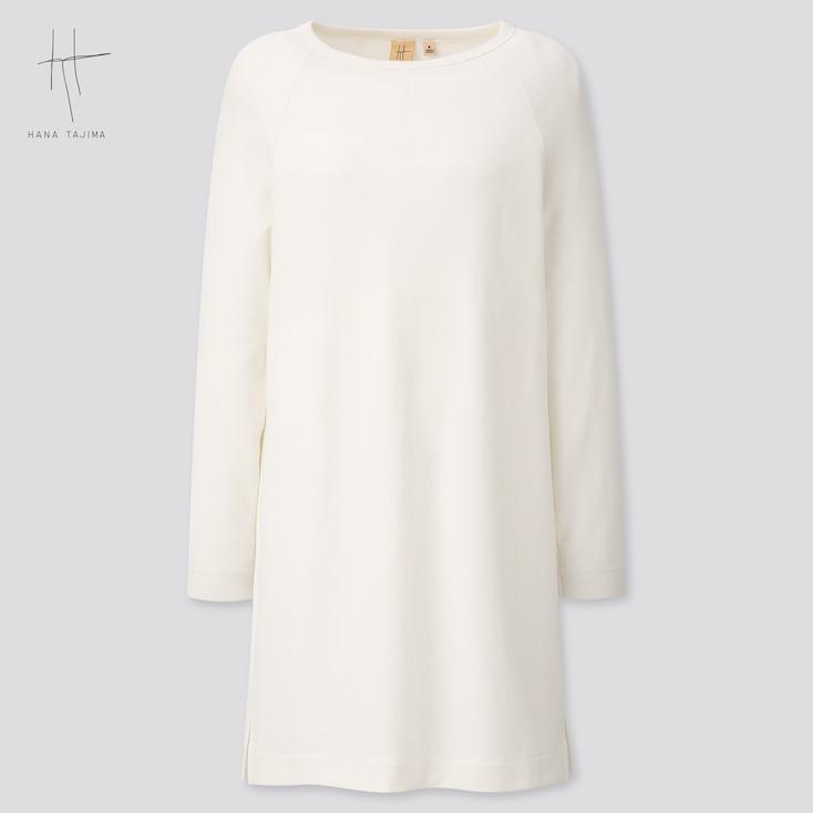 Women Rayon Sweat Boat Neck Long-Sleeve Tunic (Hana Tajima) (Online Exclusive), White, Large