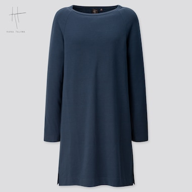 Women Rayon Sweat Boat Neck Long-Sleeve Tunic (Hana Tajima) (Online Exclusive), Navy, Medium