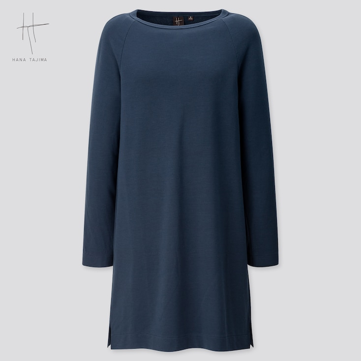 Women Rayon Sweat Boat Neck Long-Sleeve Tunic (Hana Tajima) (Online Exclusive), Navy, Large