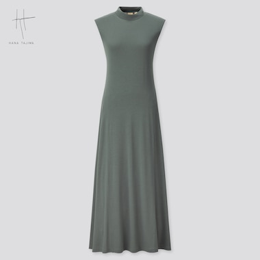 Women Rayon Crew Neck Sleeveless Dress (Hana Tajima) (Online Exclusive), Green, Medium