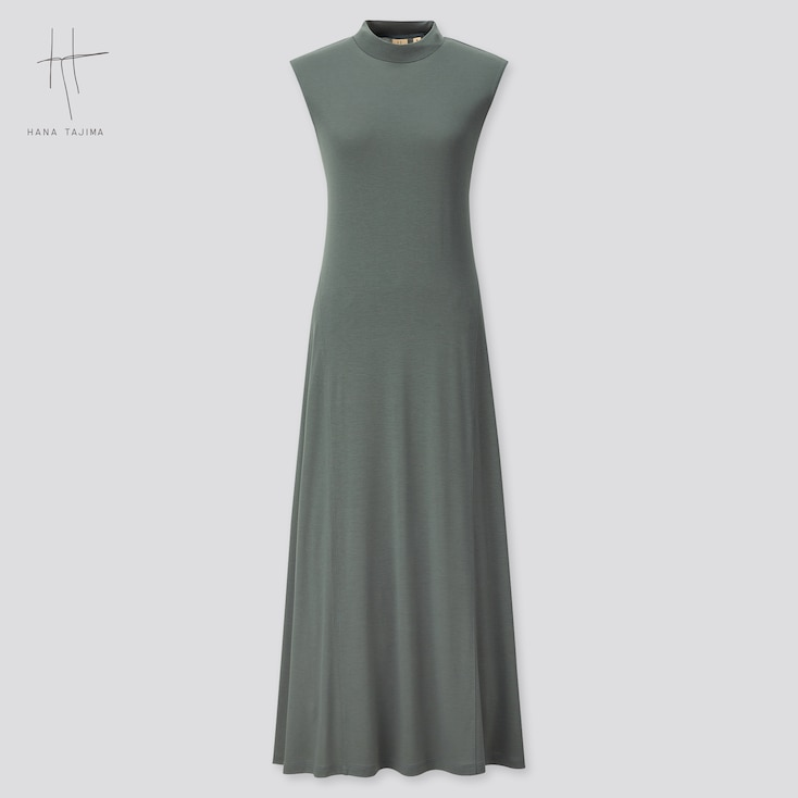 Women Rayon Crew Neck Sleeveless Dress (Hana Tajima) (Online Exclusive), Green, Large