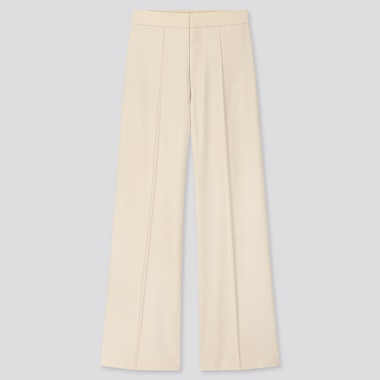 Women High-Waisted Wide Pants, Off White, Medium