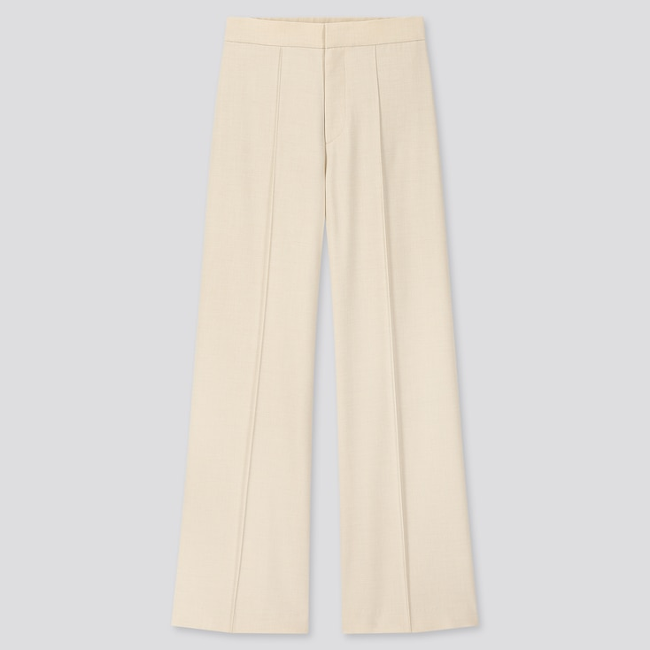 Women High-Waisted Wide Pants, Off White, Large