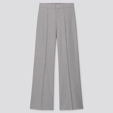 Women High-Waisted Wide Pants, Gray, Medium