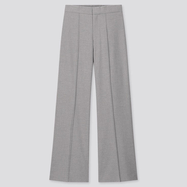 Women High-Waisted Wide Pants, Gray, Large