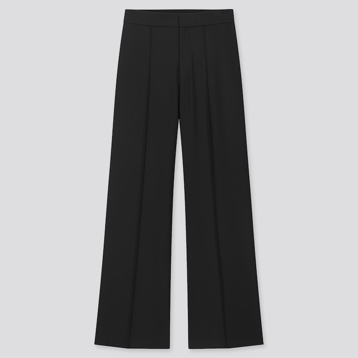 Women High-Waisted Wide Pants, Black, Large