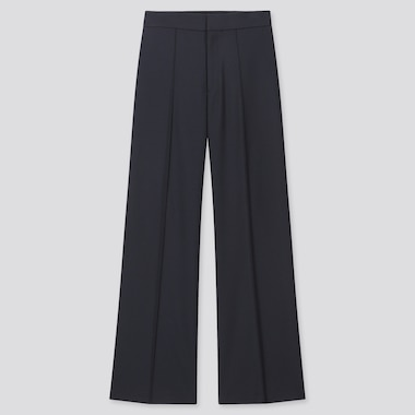 Women High-Waisted Wide Pants, Navy, Medium