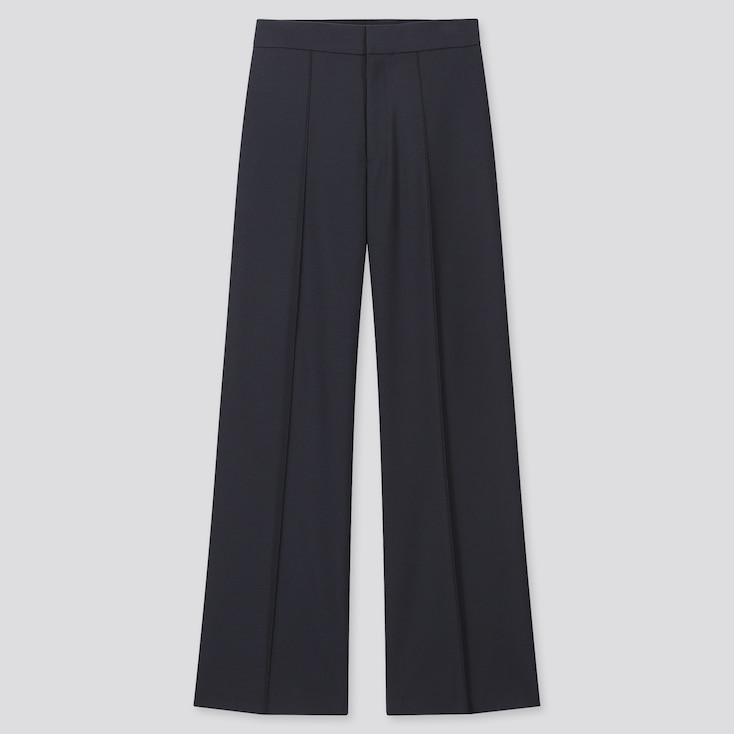 Women High-Waisted Wide Pants, Navy, Large