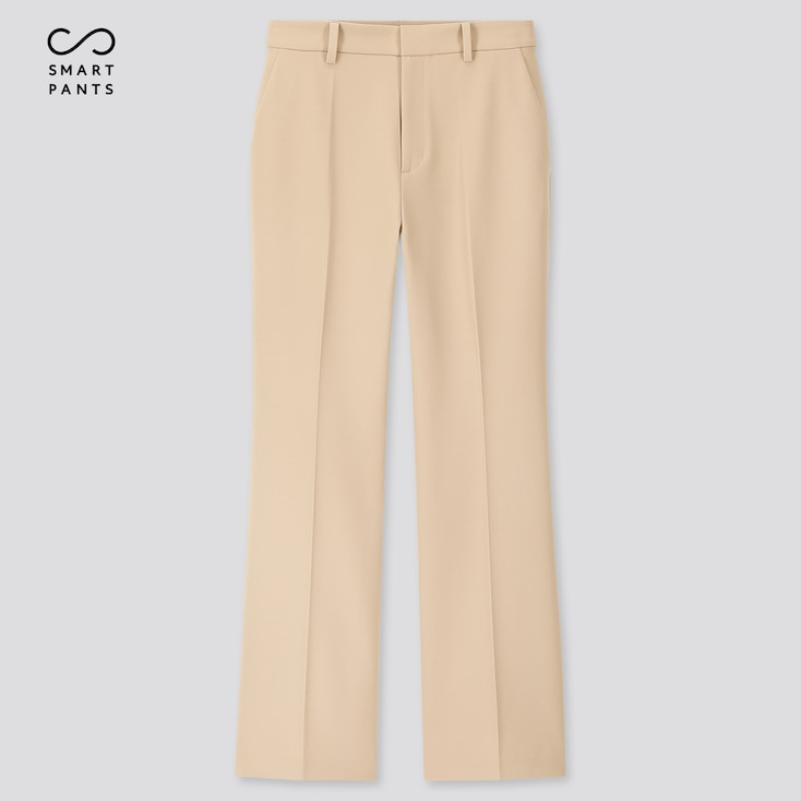 Women Ezy 2-Way Stretch Flare Ankle-Length Pants, Beige, Large